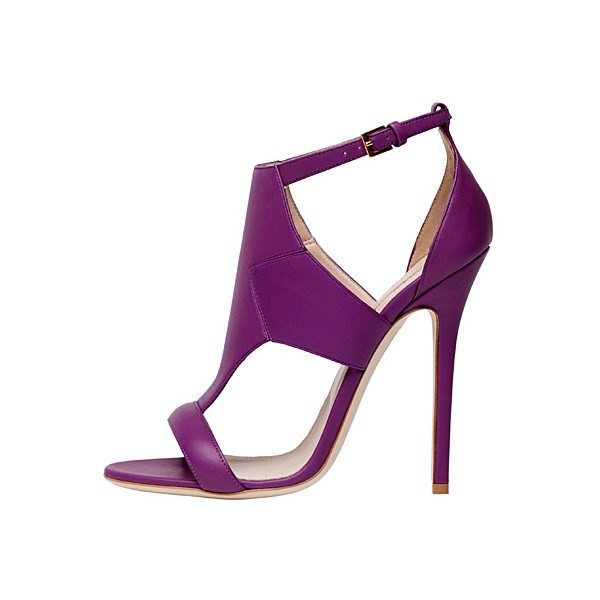 Purple T Strap Sandals Ankle Strap Stiletto Heels image 1