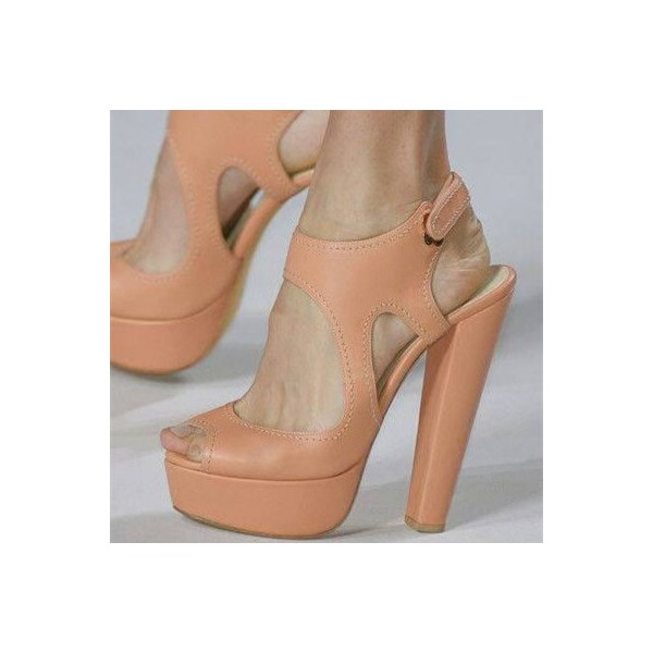 Blush Cut out Chunky Heel Sandals Peep Toe Slingback Platform Sandals image 1