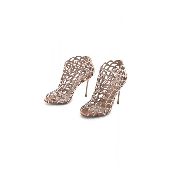 Women's Brown  Rhinestone Stiletto Heels Cage Bridal Sandals image 3