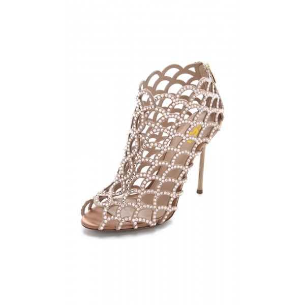 Women's Brown  Rhinestone Stiletto Heels Cage Bridal Sandals image 4