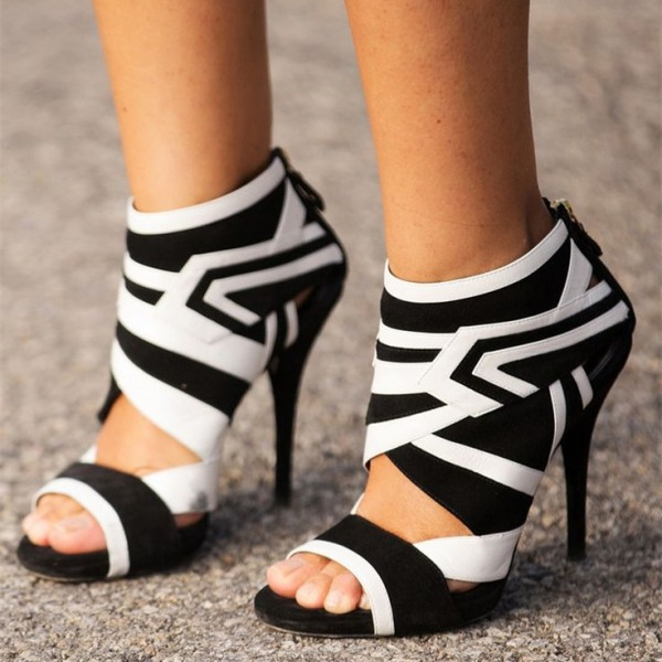 Black and White Heels Open Toe Stiletto Heel Summer Booties image 1