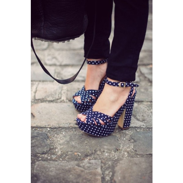 Women's Navy White Polka Dots Chunky Heel Ankle Strap Sandals image 2