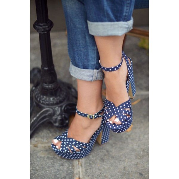 Women's Navy White Polka Dots Chunky Heel Ankle Strap Sandals image 3