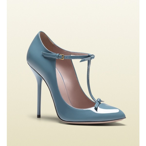 Blue T Strap Pumps Pointy Toe Patent Leather Stiletto Heels image 2