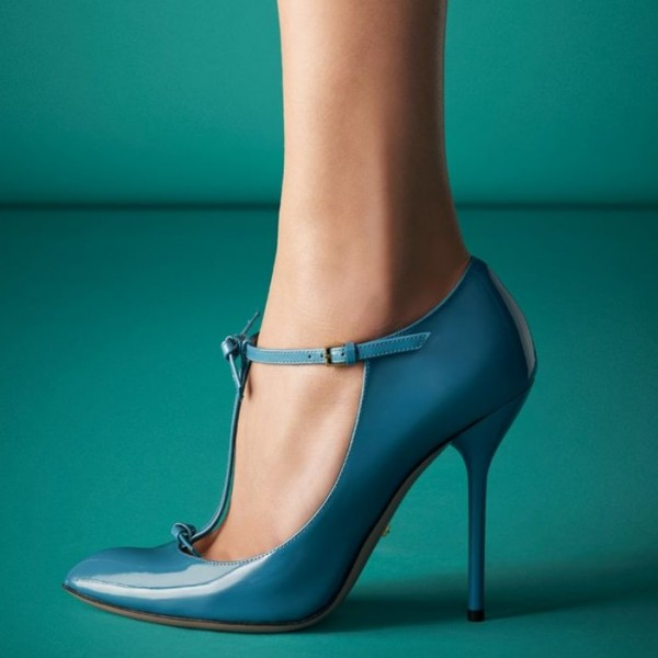 Blue Chic T Strap Stiletto Heels Pointy Toe Patent Leather Pumps image 1