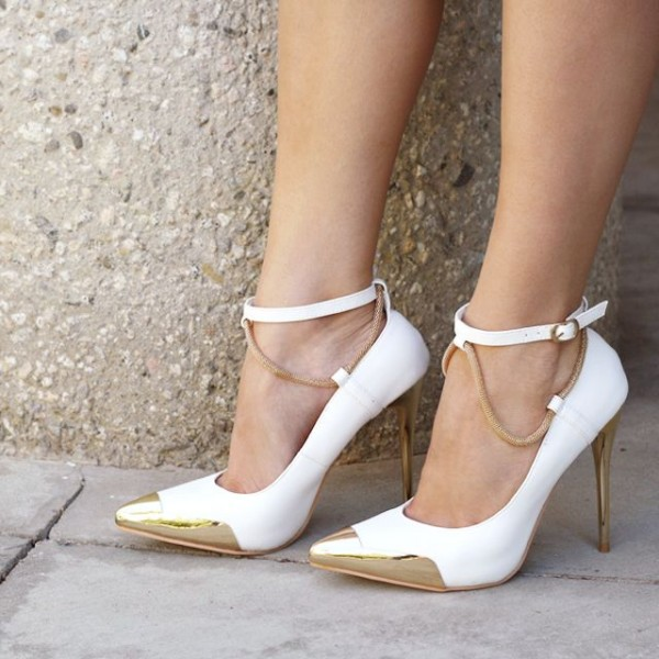 White and Gold Ankle Strap Heels Pointy Toe Pumps Stiletto Heels ...
