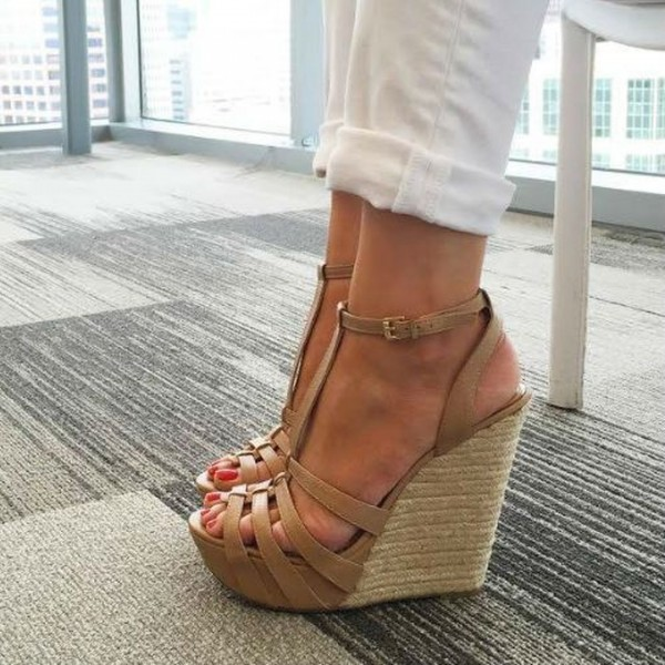 Khaki Wedge Sandals T Strap Peep Toe Platform Shoes image 1