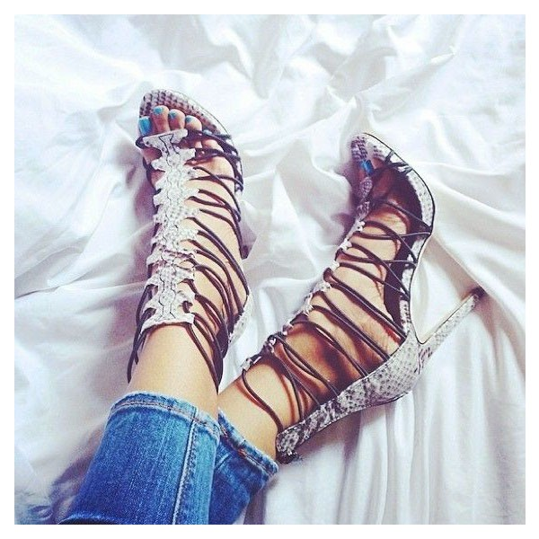 Women Light Grey Stiletto Heels Dress Shoes Python Open Toe Strappy Sandals  image 1
