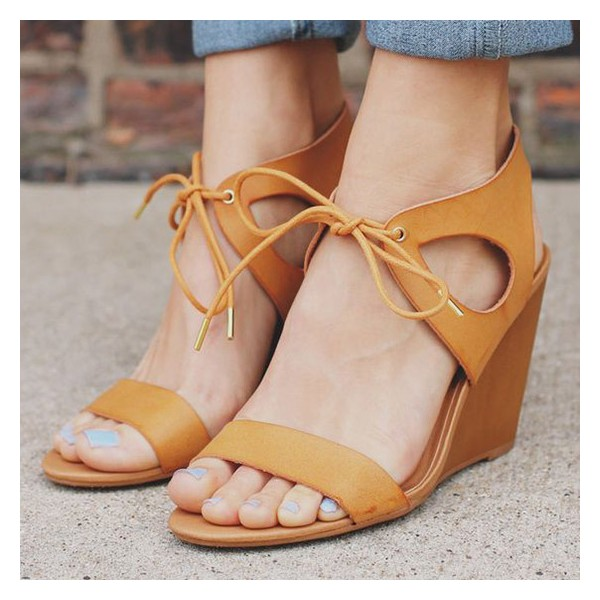 Mustard Wedge Sandals Lace up Open Toe Shoes image 1