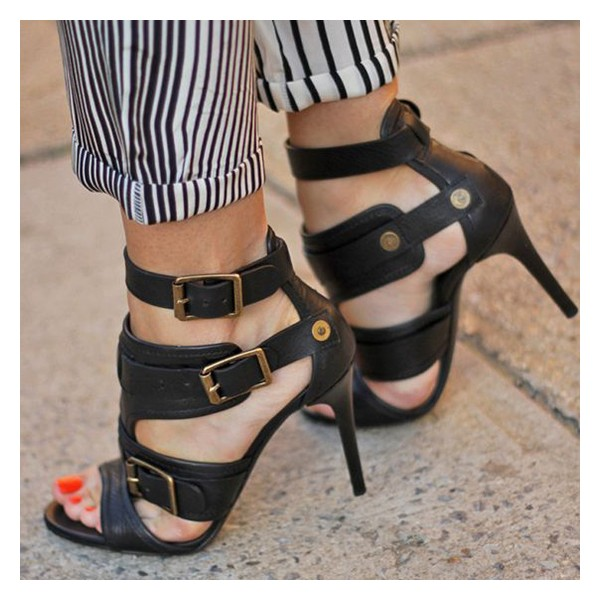 Black Stiletto Heels Sexy Sandals Open Toe High Heels with Buckles image 1