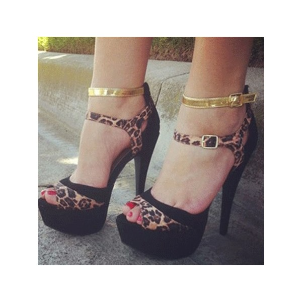 Women's  Black Peep Toe Leopard-print and Golden Strap Stiletto Heel Sandals  image 1