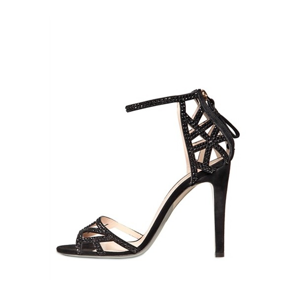 Black Ankle Strap Sandals Open Toe Sequined Stiletto Heels image 1