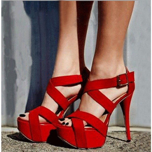 Coral Red Stilettos Platform Heels Crossed-over Strappy Sandals image 1