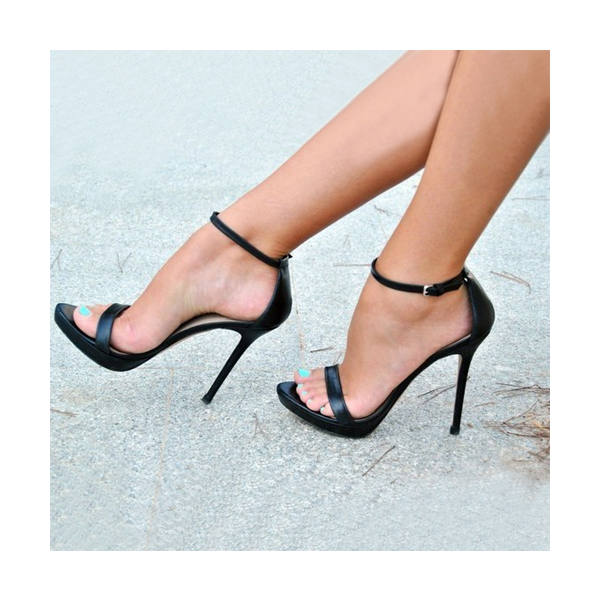Black Ankle Strap Sandals Sexy Stiletto Heels for Party, Date | FSJ