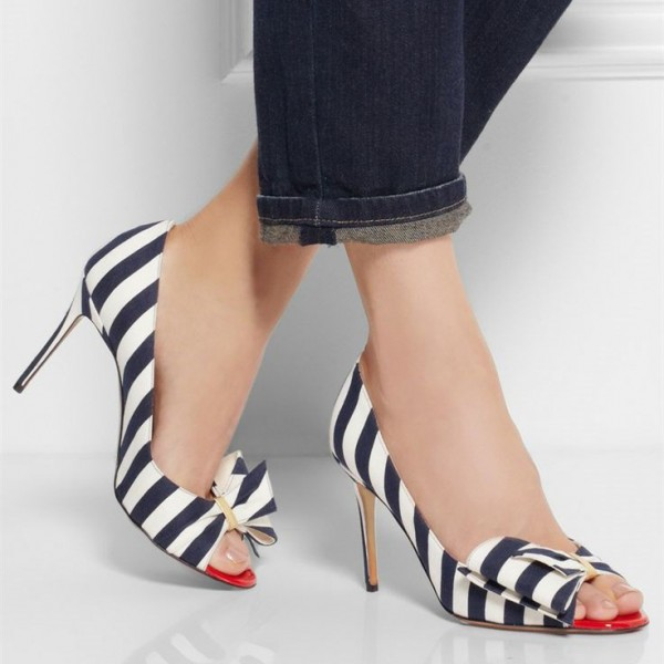 Navy and White Stripes Stiletto Heels Cute Pumps with Bow image 2