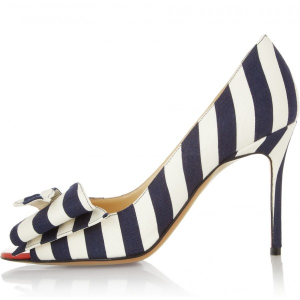 Navy and White Stripes Stiletto Heels Cute Pumps with Bow image 3