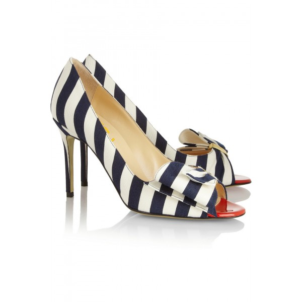Navy and White Stripes Stiletto Heels Cute Pumps with Bow image 4