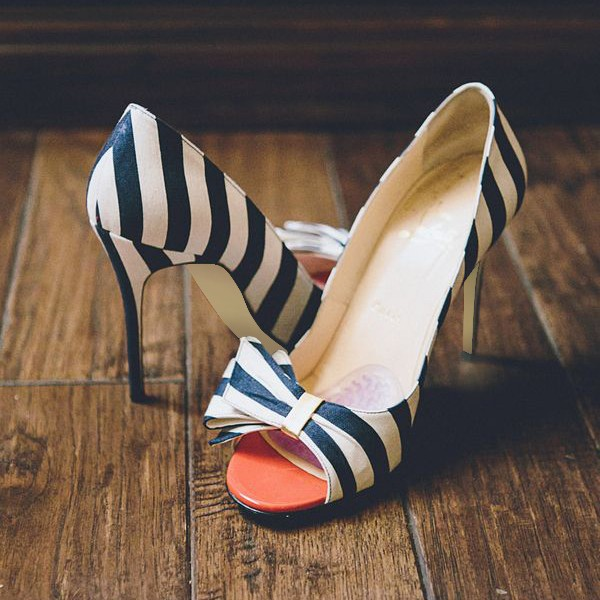 Navy and White Stripes Stiletto Heels Cute Pumps with Bow image 1