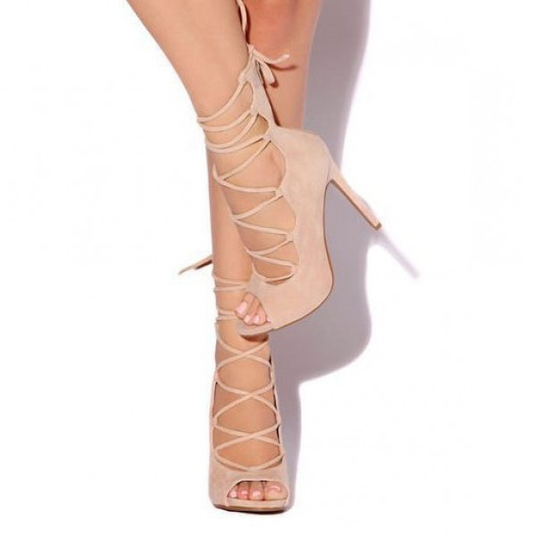 Women's Pink Peep Toe Strappy Stiletto Heels Pumps Shoes image 1