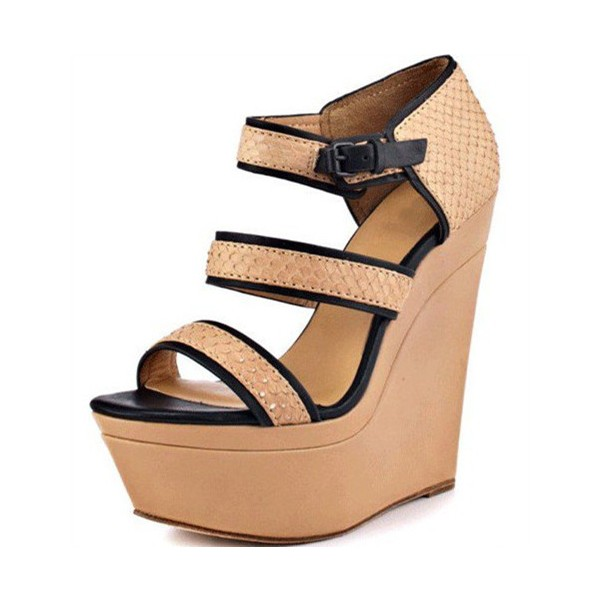 Khaki Wedge Sandals Open Toe Python Platform Shoes image 1