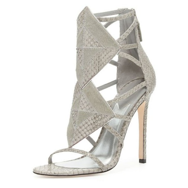 Grey Python Stiletto Heels Open Toe Hollow out Sandals image 1