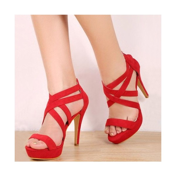 Red Suede Cross over Platforom Heels Stiletto Heels Sandals For Party image 1