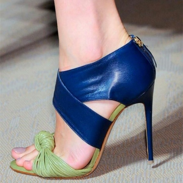 Women's Navy and Green Strappy Heels Open Toe Stiletto Heel Sandals image 1