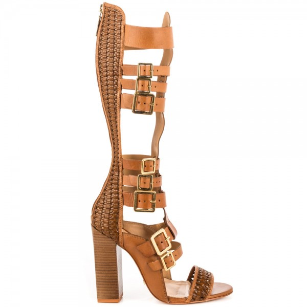 Tan Gladiator Sandals Open Toe Knee-high Chunky Heels with Buckles image 2
