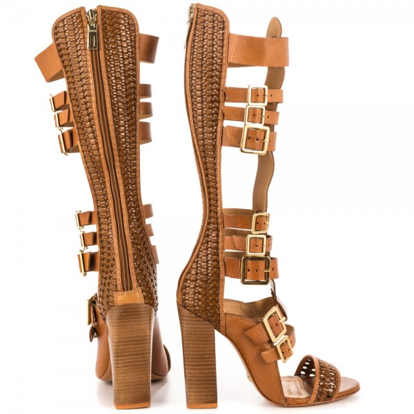 Tan Gladiator Sandals Open Toe Knee-high Chunky Heels with Buckles image 3