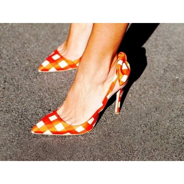 Orange Slingback Pumps Pointy Toe Plaid Cute Shoes with Bow image 3