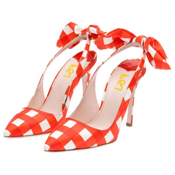 Orange Slingback Pumps Pointy Toe Plaid Cute Shoes with Bow image 4