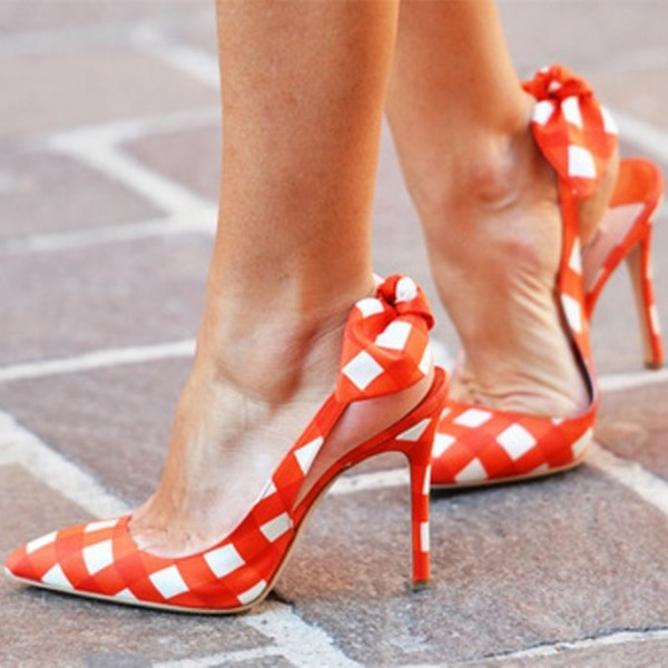 Orange Slingback Pumps Pointy Toe Plaid Cute Shoes with Bow image 1