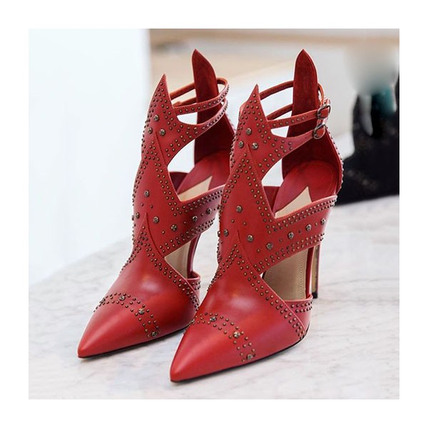 Red Stiletto Heels Pointy Toe Cutout Studded Pumps image 1