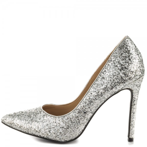 Silver Glitter Shoes Stiletto Heel Pointy Toe Sparkly Pumps image 1