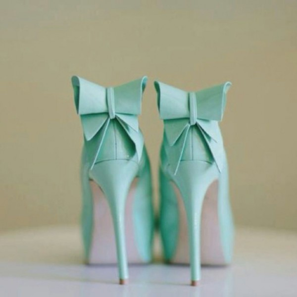 Mint Green Stiletto Heels Peep Toe Platform Pumps with Bow image 2