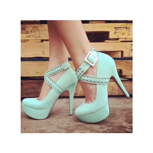 Mint Green Crossed-over Ankle Straps Platform Stiletto Heel Pumps image 1