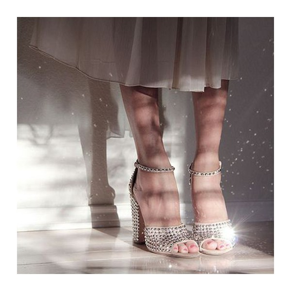 Beige Wedding Sandals Peep Toe Ankle Strap Studded Chunky Heels image 1