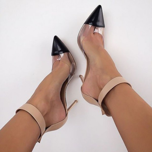 Clear Heels Nude Transparent Ankle Strap Pointy Toe Stiletto Heel Pumps image 1
