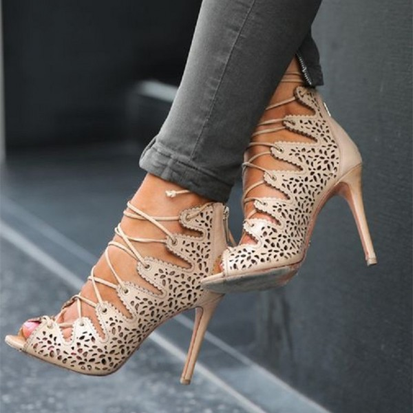 Nude Strappy Heels Hollow out Lace up Sandals Stiletto Heels image 1