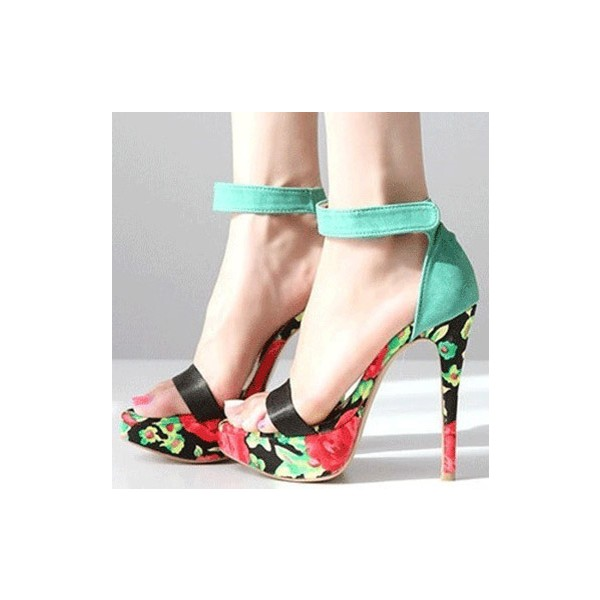Women's Turquoise Stiletto Heels Dress Shoes Floral Platform Ankle Strap Sandals image 1