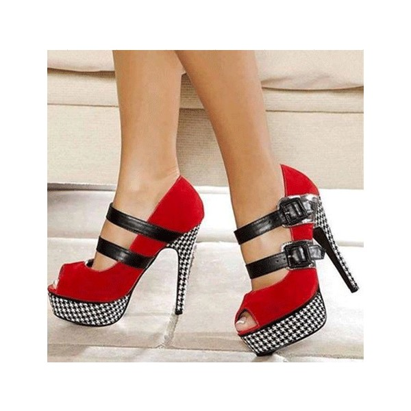 Red Platform Heels Houndstooth Suede mary Jane Shoes Key Hole Pumps image 1