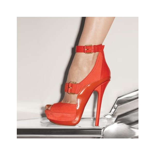 Women's Orange Platform Heels Buckle Stiletto Heels Ankle Strap Sandals image 1