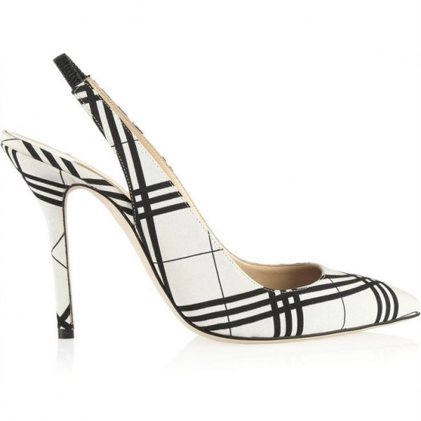 Black and White Heels Plaid Slingback Pumps Stiletto Heels image 2