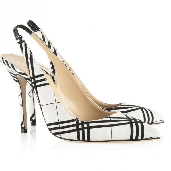 Black and White Heels Plaid Slingback Pumps Stiletto Heels image 3