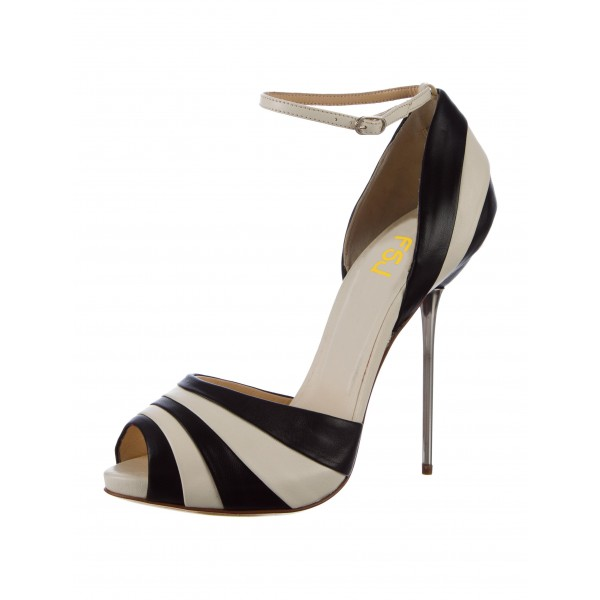 Black and White Stiletto Heels Dress Shoes Ankle Strap Pumps image 3