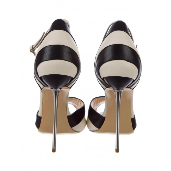 Black and White Stiletto Heels Dress Shoes Ankle Strap Pumps image 4