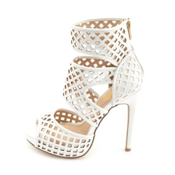 White Stiletto Heels Hollow out Cage Sandals Peep Toe High Heel Shoes image 1