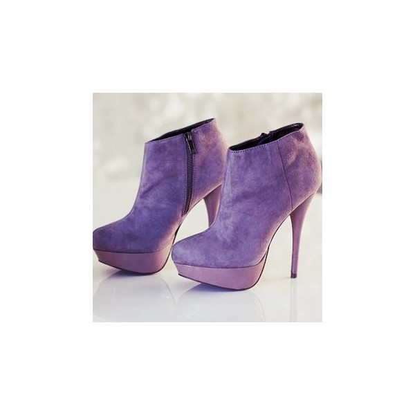 Purple Platform Boots Stiletto Heels Suede Ankle Booties for Female image 1
