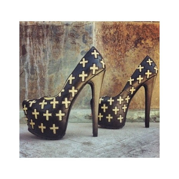 Women's Black Cross Pattern Almond Toe  Platform Heels Shoes image 1
