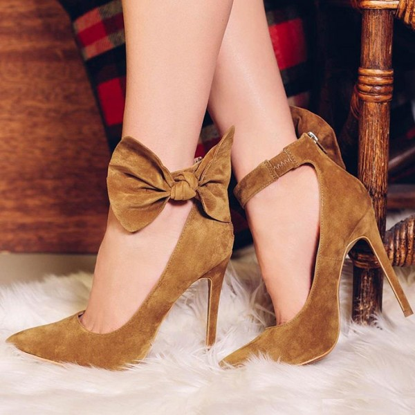Tan Bow Heels Suede Pointy Toe Ankle Strap Stiletto Heel Pumps image 1